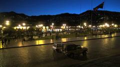 Cusco night plaza view s Stock Footage