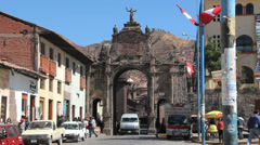 Stock Video Footage of Cusco gate with traffic