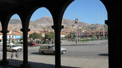 Cusco traffic and plaza c Stock Footage