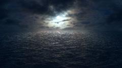 Flying over moonlit ocean HD Stock Footage