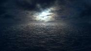 Stock Video Footage of flying over moonlit ocean HD