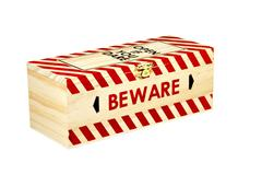 wooden box with wording open if you dare and beware - stock photo