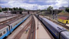 The toy railway (tilt-shift) Stock Footage