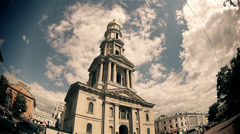 The Catholic cathedral in the old town (time lapse). Stock Footage