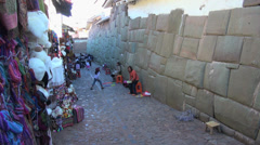 Cusco street lined with Inca stones s Stock Footage