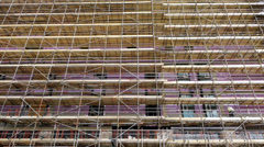 Building construction scaffolding. Stock Footage
