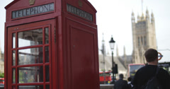 Out of focus London next to phone box 4K Stock Footage