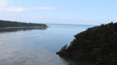 Deception Pass Whidbey Island Washington State with Boat Stock Footage