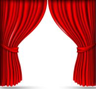 Red silk curtains Stock Illustration