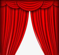 Red silk curtains Piirros