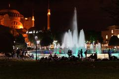 hagia sophia and fountains at night - stock photo
