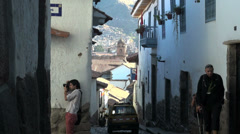 Stock Video Footage of Cusco street with tourists s