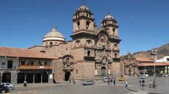 Cusco plaza and La Compania church Stock Footage