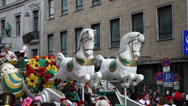 Stock Video Footage of karneval 2014 cologne carnival parade 2014 large float with bauer and jungfra