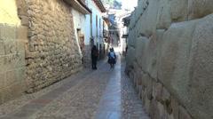 Cusco street with Inca stones Stock Footage