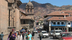 Cusco street by plaza and church Stock Footage