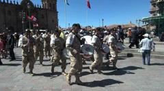 Cusco plaza fiesta band Stock Footage
