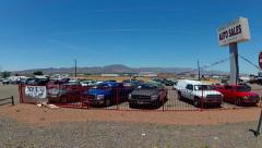 Driving By Used Car Lots- Kingman Arizona Stock Footage