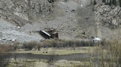 Historic steam train passing old Silverton mine-HD-P-1915 Stock Footage