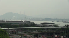 View of Victoria Harbour Hong Kong by day Stock Footage