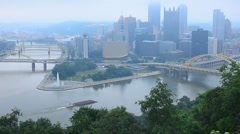 Skyline of pittsburgh pa on rainy day Stock Footage