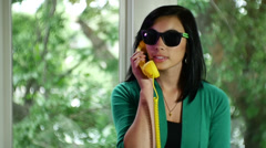 Talking on phone retro concept communication Stock Footage