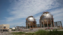 Time lapse of Spherical gas tank Stock Footage