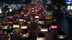 Timelapse View of Rush Hour Traffic on Busy City Street Stock Footage