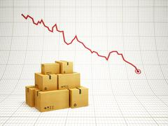 falling amount of delivered goods - stock illustration