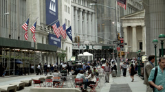 Telephoto Wide Shot of Wall Street and Stock Exchange. Stock Exhange in New York - stock footage
