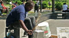 Percussion Musician Street Performer in Washington Square Park in NYC, USA Stock Footage