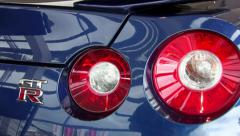 Sports car details close-up. Nissan GTR. Stock Footage