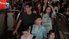 Time Lapse of People Using Escalators at Busy Subway Station, Bangkok, Thailand Stock Footage
