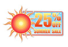 25 percentages off summer sale in label with sun - stock illustration