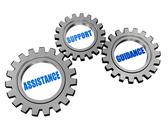 Stock Illustration of assistance, support, guidance in silver grey gears