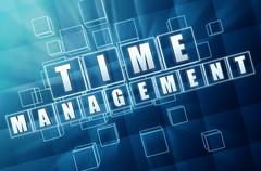 Time management in blue glass cubes Stock Illustration
