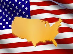 american flag and map - stock illustration