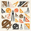 Stock Illustration of school drawing tools  icons set