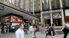 Madison Square Garden daytime. MSG on 7th Avenue. The Garden. Pro Sports NYC. Stock Footage