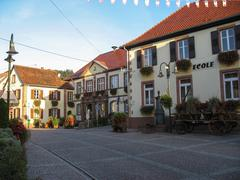 typical alsatian village - stock photo