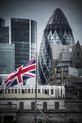 Union Jack flying on Thames by City of London Stock Photos