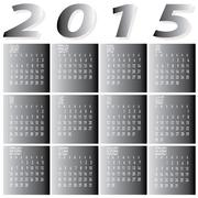 monthly year 2015 two tone calendar - stock illustration