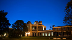 Leiden old observatory at night with stars 4K Stock Footage