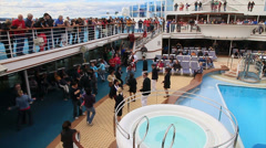 Passengers aboard cruise ship watch as others dance-HD-P-3054 Stock Footage