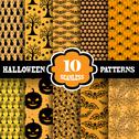 Stock Illustration of seamless Halloween patterns set for invitations, cards, scrapbooking