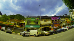 KUALA LUMPUR - JUNE 2014: Street view time lapse with storm clouds coming. 4K Stock Footage