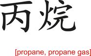 Stock Illustration of Chinese Sign for propane, propane gas