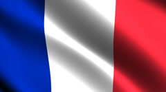 France flag waving in the wind. Looping animation Stock Footage