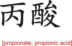Chinese Sign for propionate, propionic acid - stock illustration