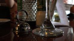 Bottom Of Stem Wine Glass On Table Ot Restaurant 4K Stock Footage